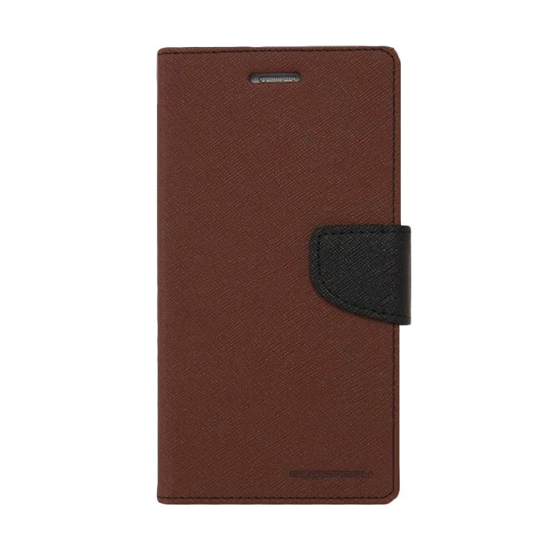 Mercury Goospery Fancy Diary Brown Black Flip Cover Casing for Samsung Galaxy Note 4