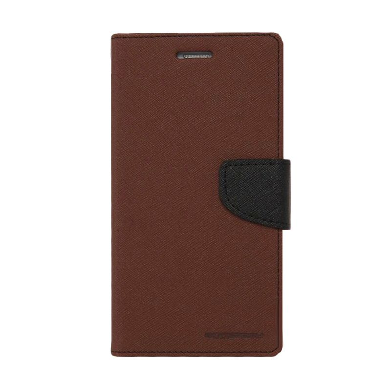 Mercury Goospery Fancy Diary Brown Black Flip Cover Casing for LG G2