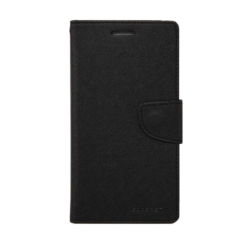 Mercury Goospery Fancy Diary Black Flip Cover Casing for Galaxy Mega 5.8