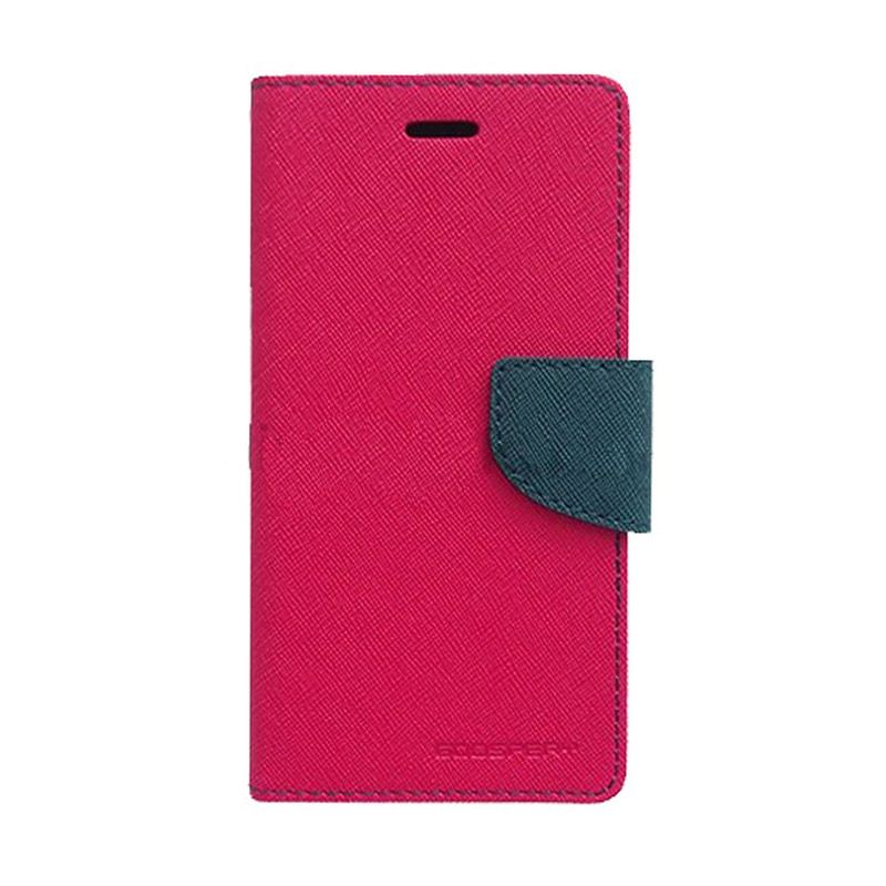 Mercury Goospery Fancy Diary Hot Pink Navy Flip Cover Casing for LG G2