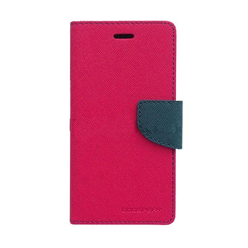 Mercury Goospery Fancy Diary Hot Pink Navy Flip Cover Casing for Samsung Galaxy Mega 2