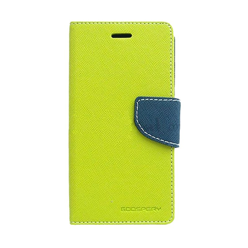 Mercury Goospery Fancy Diary Lime Navy Flip Cover Casing for Samsung Galaxy Mega 6.3