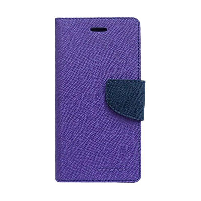 Mercury Goospery Fancy Diary Purple Navy Flip Cover Casing for Samsung Galaxy Mega 6.3