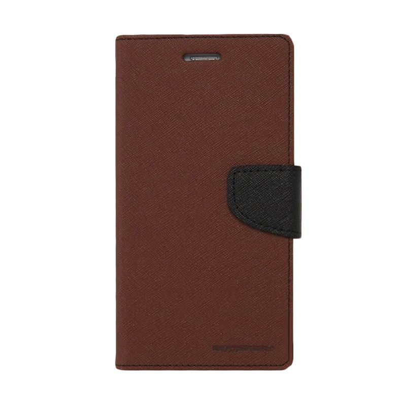 Mercury Goospery Fancy Diary Flip Cover Brown Black Casing for Galaxy Core Duos