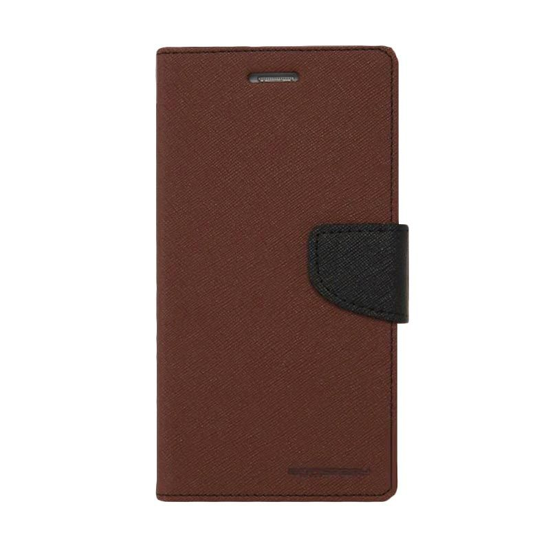 Mercury Goospery Fancy Diary Flip Cover Brown Black Casing for Galaxy E5