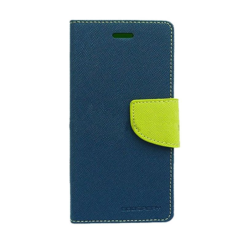 Mercury Goospery Fancy Diary Flip Cover Navy Lime Casing for iPhone 4 4s