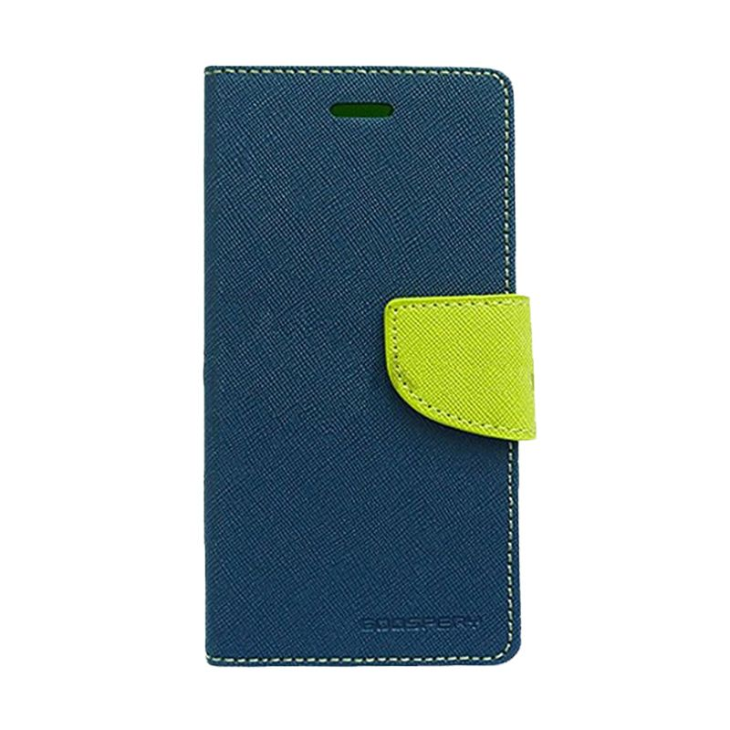 Mercury Goospery Fancy Diary Navy Lime Flip Cover Casing for Galaxy Note 3