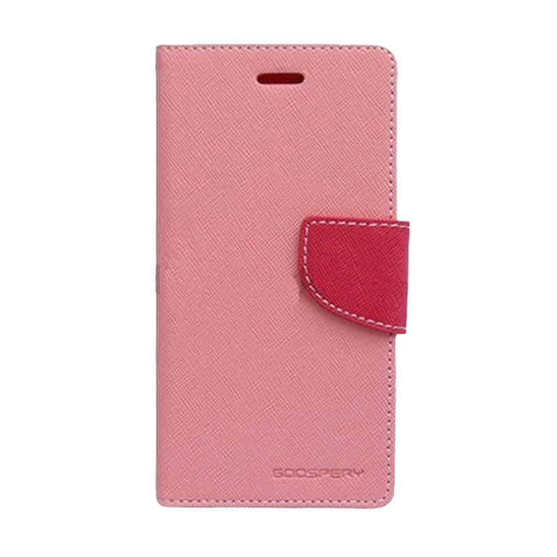 Mercury Goospery Fancy Diary Pink Hot Pink Flip Cover Casing for Galaxy E5