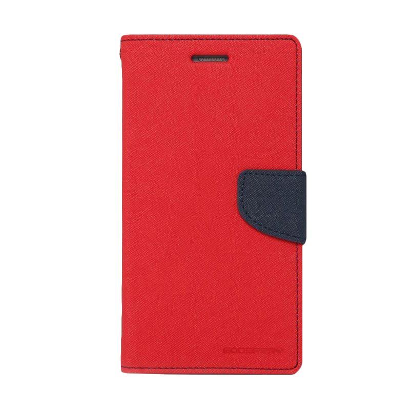 Mercury Goospery Fancy Diary Red Navy Flip Cover Casing for Galaxy Mega 6.3