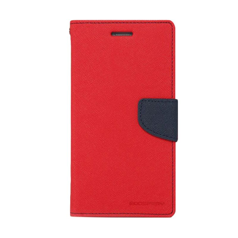 Mercury Goospery Fancy Diary Red Navy Flip Cover Casing for iPhone 5 5s
