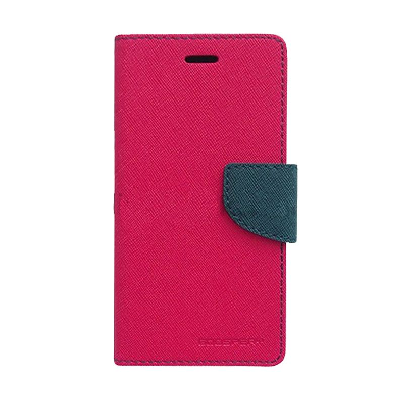 Mercury Goospery Fancy Diary Hot Pink Navy Flip Cover Casing for Samsung Galaxy Note 3 Neo