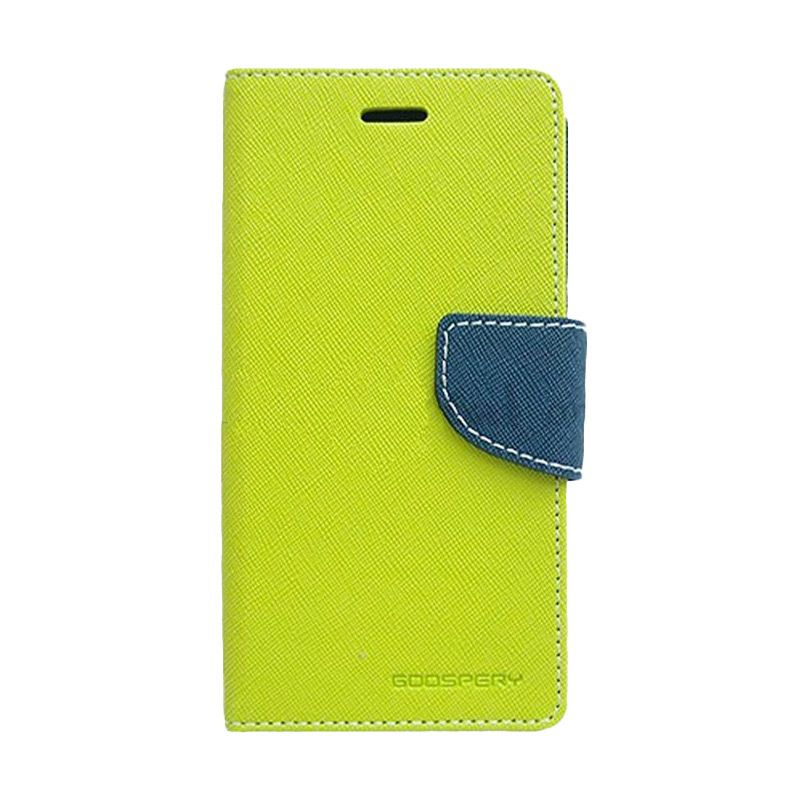 Mercury Goospery Fancy Diary Lime Navy Casing for Galaxy S6 Edge