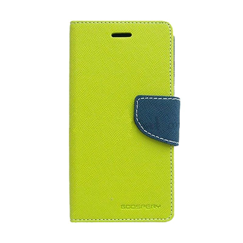 Mercury Goospery Fancy Diary Lime Navy Flip Cover Casing for LG G2
