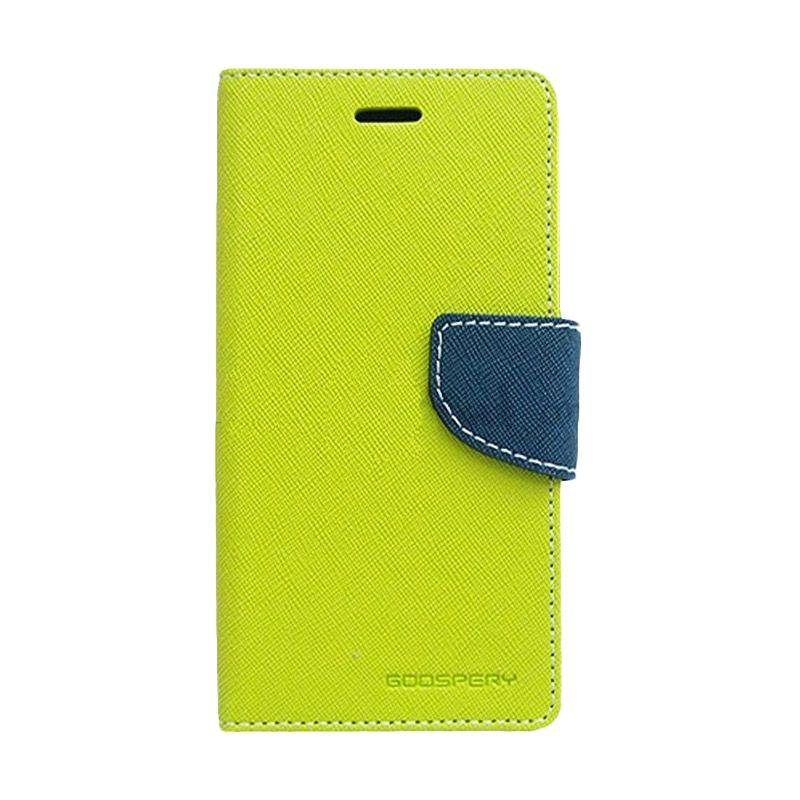 Mercury Goospery Fancy Diary Lime Navy Flip Cover Casing for LG G3