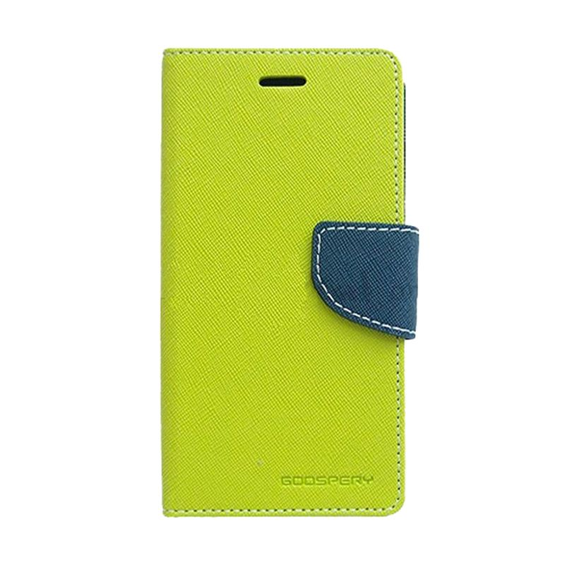 Mercury Goospery Fancy Diary Lime Navy Flip Cover Casing for Samsung Galaxy Note 4