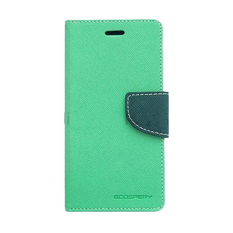 Mercury Goospery Fancy Diary Mint Navy Flip Cover Casing for LG G2
