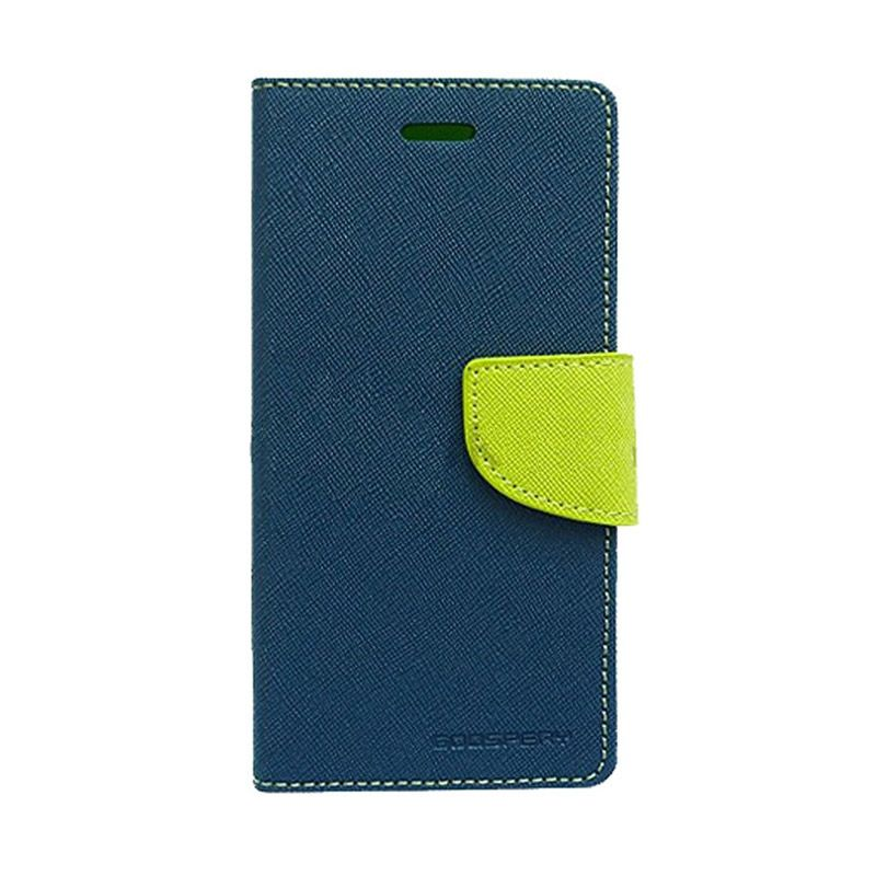 Mercury Goospery Fancy Diary Navy Lime Flip Cover Casing for Galaxy E5