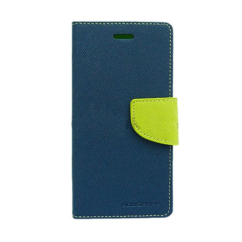 Mercury Goospery Fancy Diary Navy Lime Flip Cover Casing for OPPO