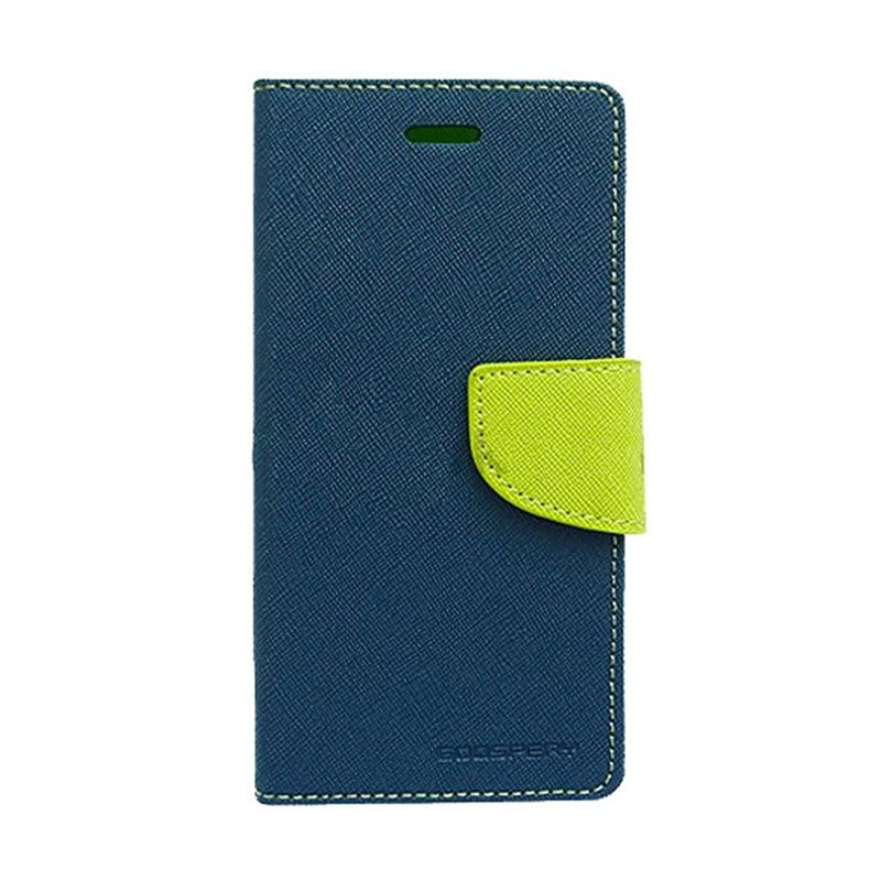 Mercury Goospery Fancy Diary Navy Lime Flip Cover Casing for Samsung Galaxy Note 4