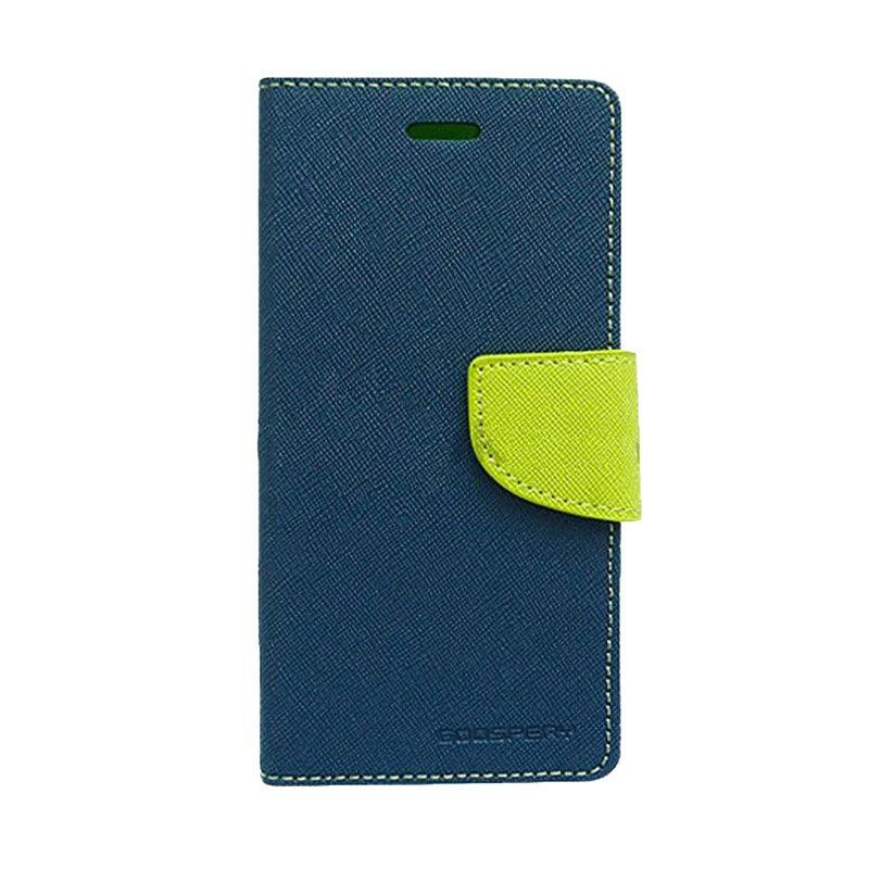 Mercury Goospery Fancy Diary Navy Lime Flip Cover Casing for Xiaomi Mi4i