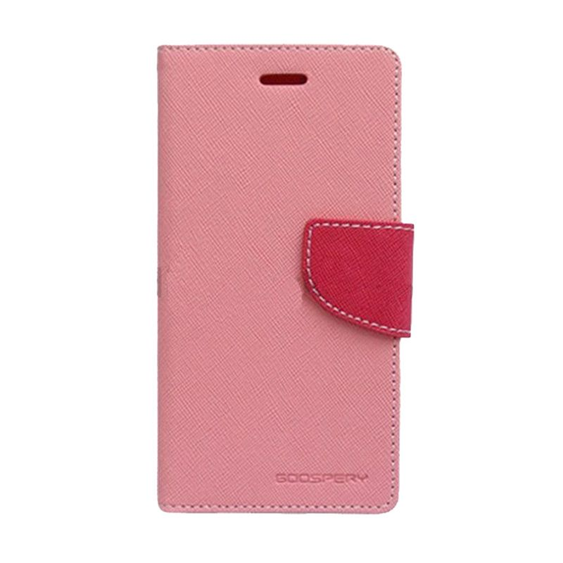 Mercury Goospery Fancy Diary Pink Hot Pink Flip Cover Casing for Samsung Galaxy Note 4