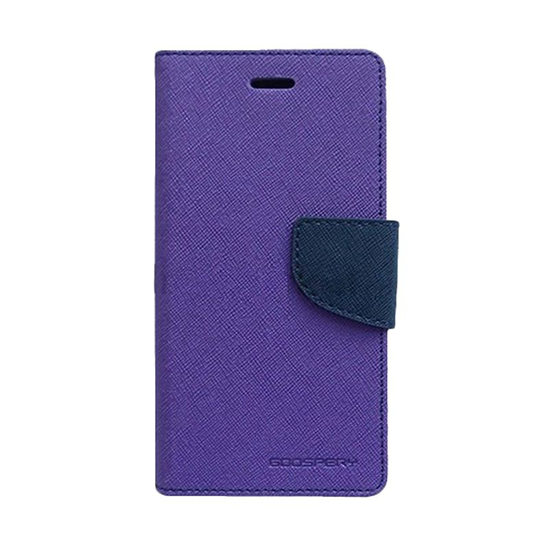Mercury Goospery Fancy Diary Purple Navy Flip Cover Casing for Samsung Galaxy Note 3 Neo