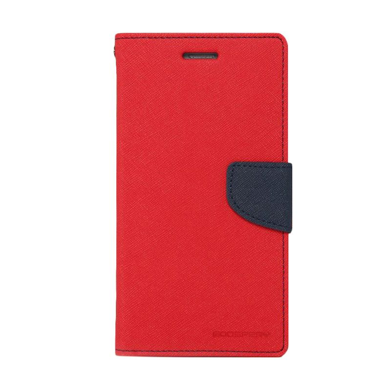 Mercury Goospery Fancy Diary Red Navy Flip Cover Casing for Samsung Galaxy E7