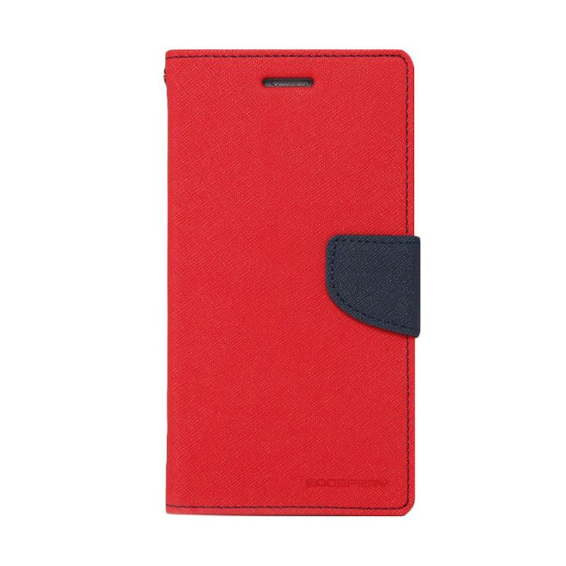 Mercury Goospery Fancy Diary Red Navy Flip Cover Casing for Samsung Galaxy Note 4