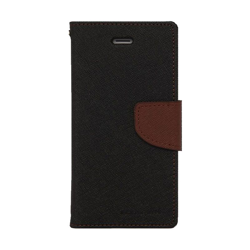 Mercury Goospery Fancy Diary Black Brown Casing for Galaxy Mega 6.3