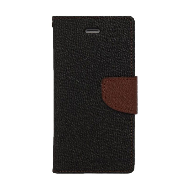 Mercury Goospery Fancy Diary Black Brown Casing for Galaxy S6 Edge