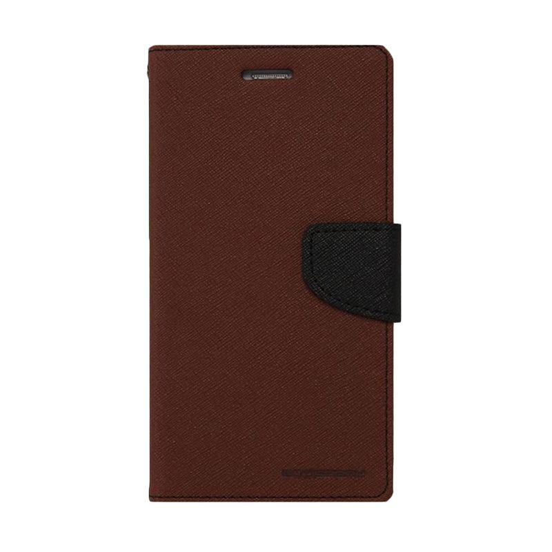 Mercury Goospery Fancy Diary Brown Black Casing for LG Pro Lite