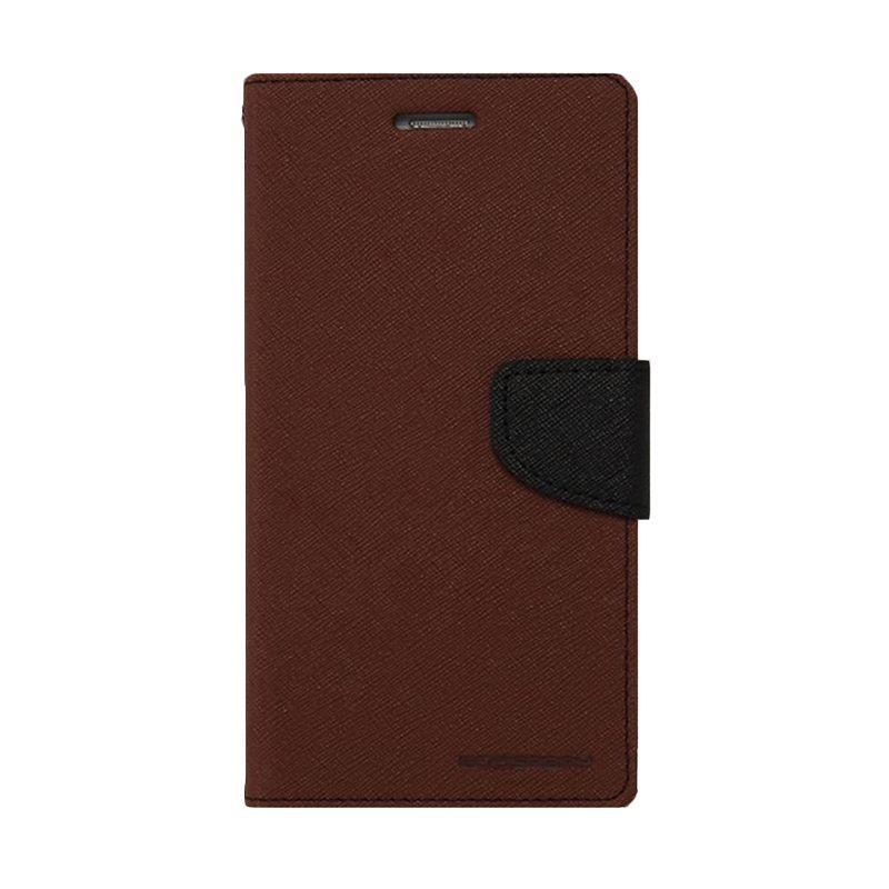 Mercury Fancy Diary Brown Black Casing for Samsung Galaxy E3
