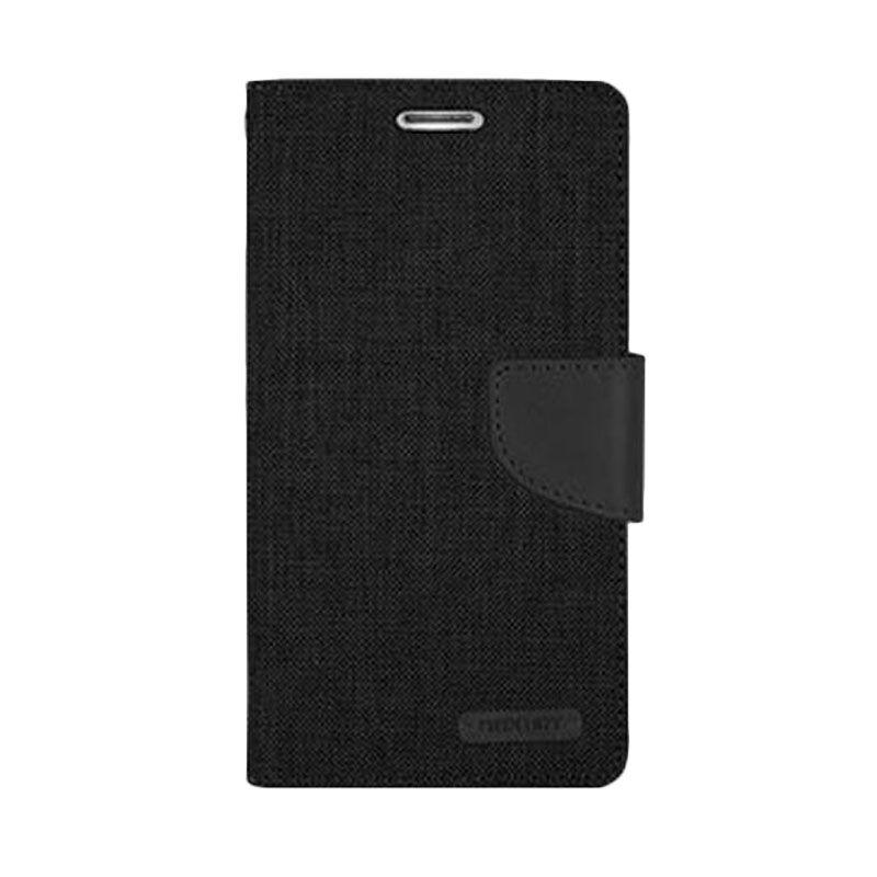Mercury Goospery Canvas Diary Black Casing for Galaxy S4