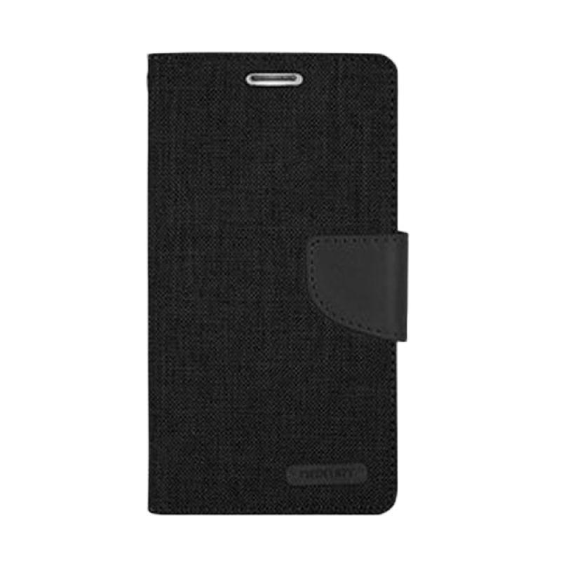 Mercury Goospery Canvas Diary Black Casing for Sony Xperia C3
