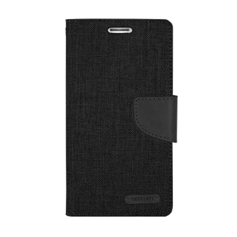Mercury Goospery Canvas Diary Black Casing for Galaxy Note 4 Edge