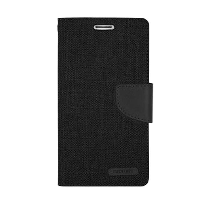 Mercury Goospery Canvas Diary Black Casing for Galaxy S6 Edge