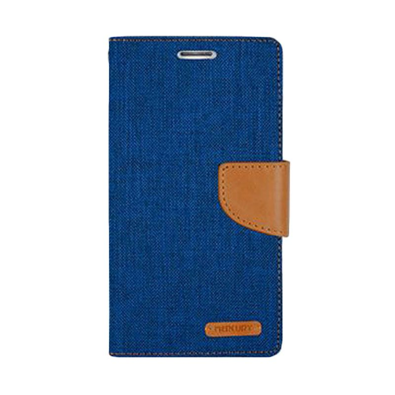 Mercury Goospery Canvas Diary Blue Casing for Galaxy S5