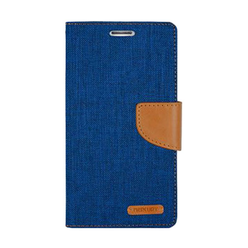 Mercury Goospery Canvas Diary Blue Casing for Galaxy Grand Prime