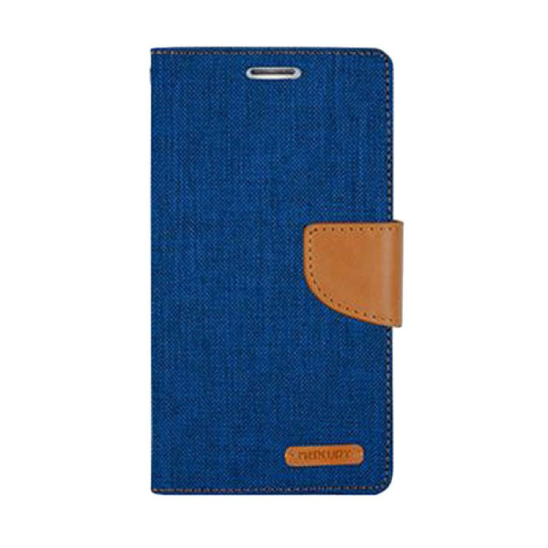 Mercury Goospery Canvas Diary Blue Casing for Galaxy S6