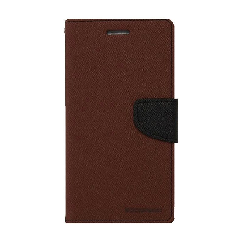 Mercury Goospery Fancy Diary Brown Black Casing for Galaxy J1