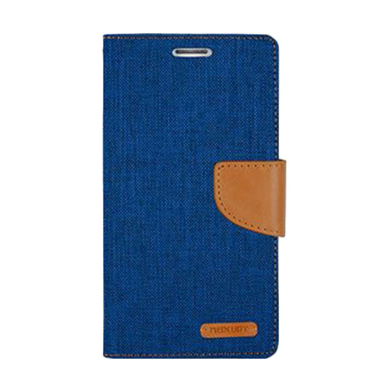 Mercury Goospery Canvas Diary Blue Casing for Samsung Galaxy E5