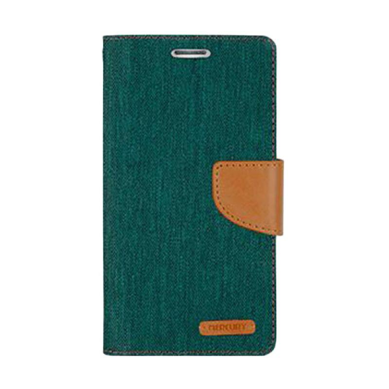 Mercury Goospery Canvas Diary Green Casing for Samsung Galaxy E5