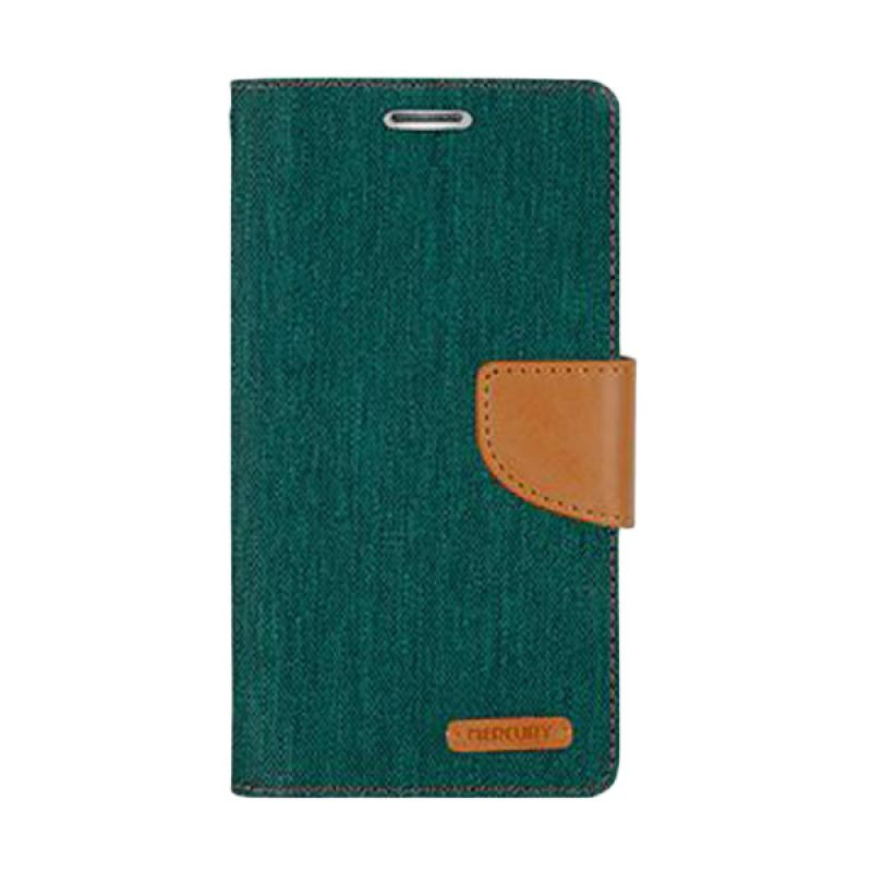 Mercury Goospery Canvas Diary Green Casing for Galaxy S4