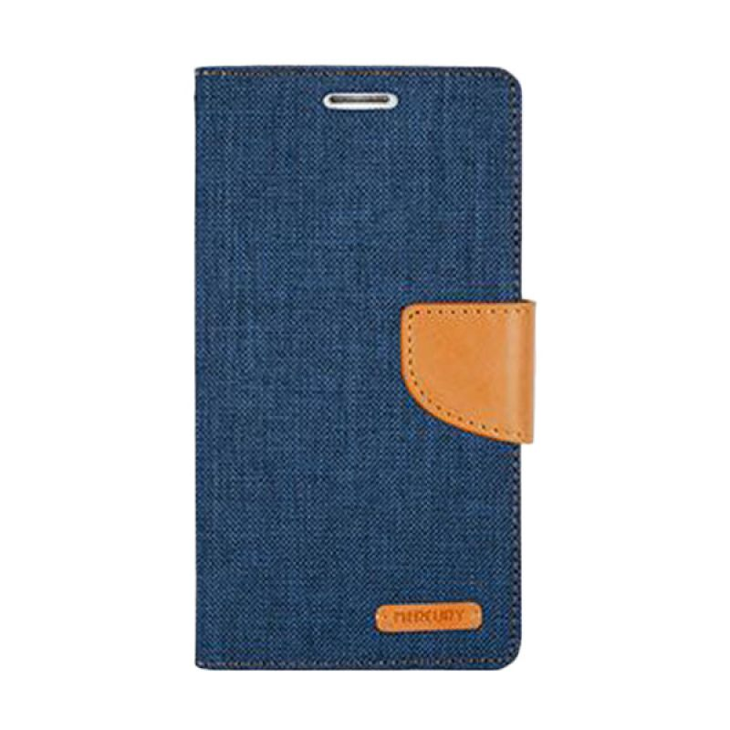 Mercury Goospery Canvas Diary Navy Camel Casing for Asus Zenfone 5