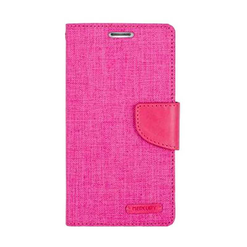 Mercury Goospery Canvas Diary Pink Casing for Sony Xperia C4