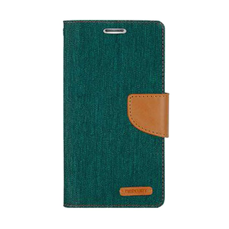 Mercury Goospery Canvas Diary Green Casing for Galaxy S5