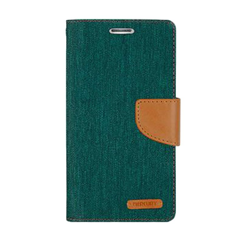 Mercury Goospery Canvas Diary Green Casing for Galaxy Note 4 Edge