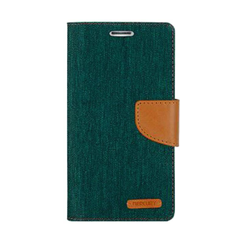 Mercury Goospery Canvas Diary Green Casing for Asus Zenfone 2