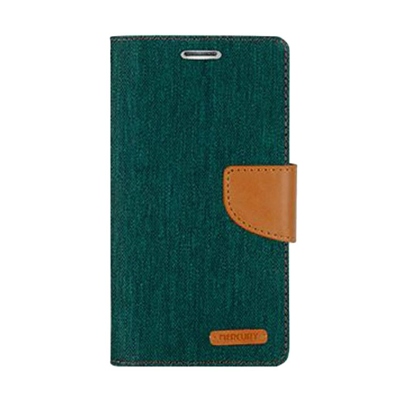 Mercury Goospery Canvas Diary Green Casing for Galaxy S6 Edge