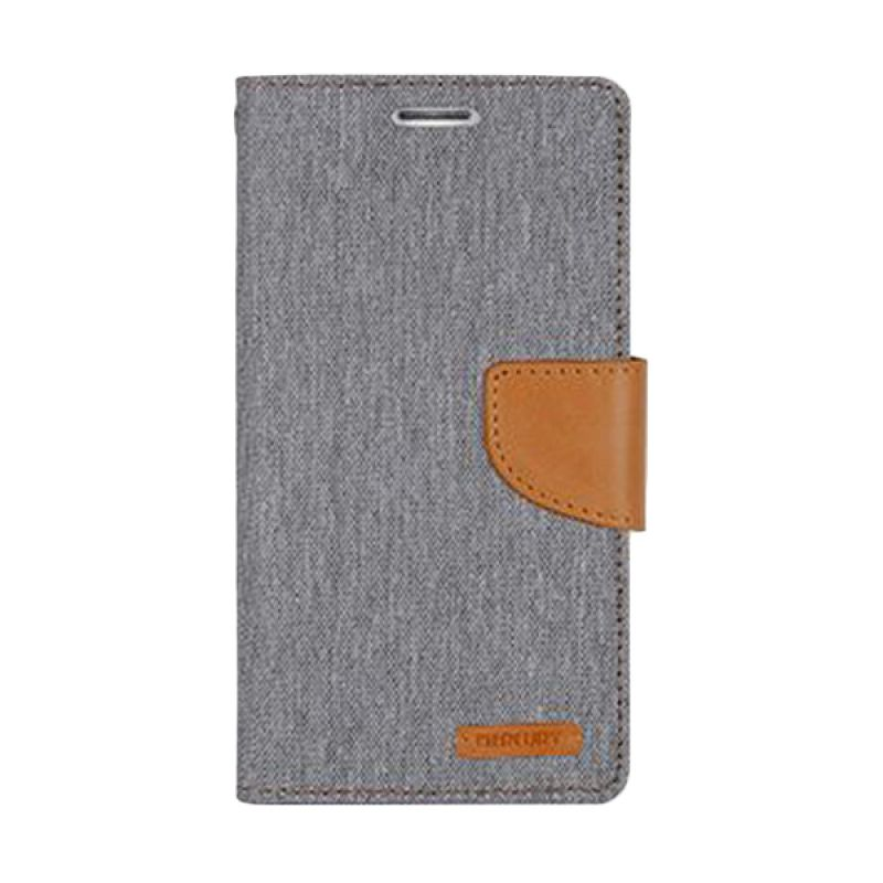 Mercury Goospery Canvas Diary Grey Camel Casing for Asus Zenfone 5